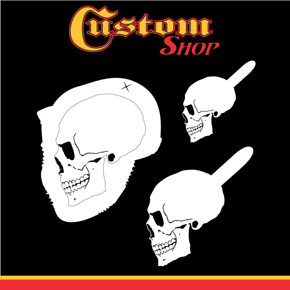 Custom Shop Airbrush Stencil Skull Design Set #2 (3 Different Scale Sizes) - 3 Laser Cut Reusable Templates