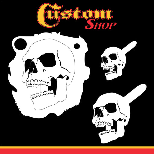 Custom Shop Airbrush Stencil Skull Design Set #4 (3 Different Scale Sizes) - 3 Laser Cut Reusable Templates
