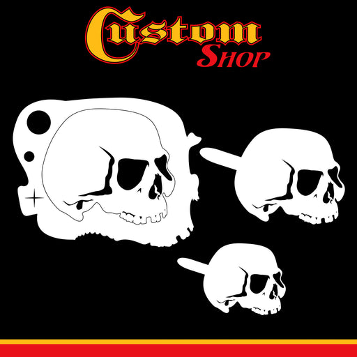Custom Shop Airbrush Stencil Skull Design Set #5 - 3 Laser Cut Reusable Templates