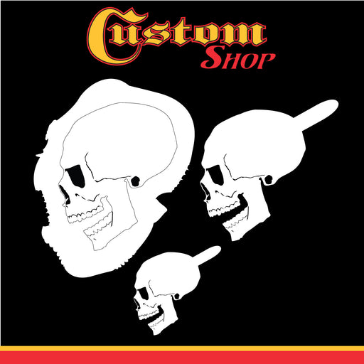 Custom Shop Airbrush Stencil Skull Design Set #6 (3 Different Scale Sizes) - 3 Laser Cut Reusable Templates