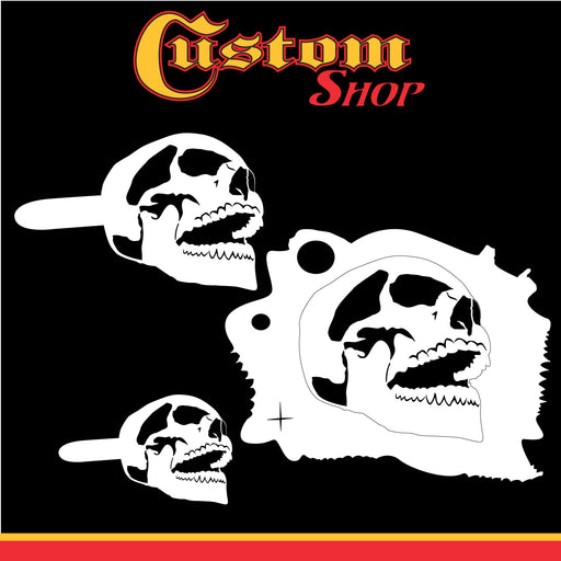 Custom Shop Airbrush Stencil Skull Design Set #7 (3 Different Scale Sizes) - 3 Laser Cut Reusable Templates