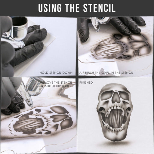 Custom Shop Airbrush Stencil Skull Design Set #8 (3 Different Scale Sizes) - 3 Laser Cut Reusable Templates