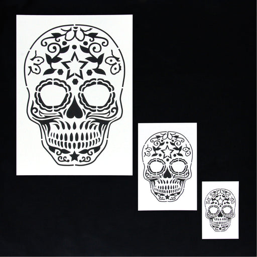 Custom Shop Airbrush Sugar Skull Day Of The Dead Stencil Set (Skull Design #10 in 3 Scale Sizes) - Laser Cut Reusable Templates