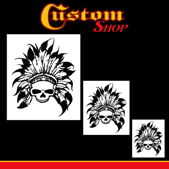 Custom Shop Airbrush Skeleton Skull Indian Chief Stencil Set (Skull Design #11 in 3 Scale Sizes) - Laser Cut Reusable Templates