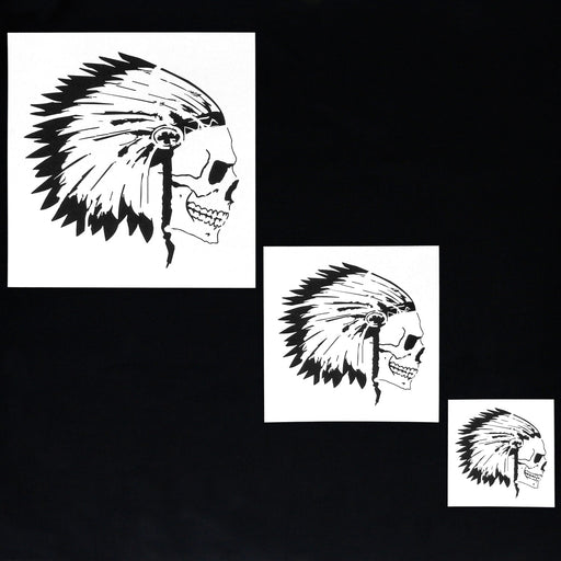 Custom Shop Airbrush Skeleton Skull Indian Chief Stencil Set (Skull Design #12 in 3 Scale Sizes) - Laser Cut Reusable Templates