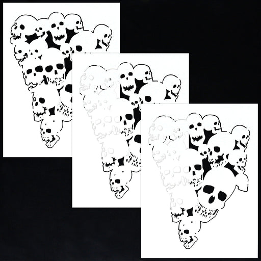 Custom Shop Airbrush Pile of Skulls Stencil Set (3 Pack of Same Skull Design) - Laser Cut Reusable Templates