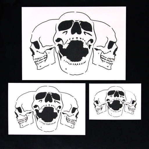 Custom Shop Airbrush Triple Skull Pile Stencil Set (Skull Design in 3 Scale Sizes) - Laser Cut Reusable Templates