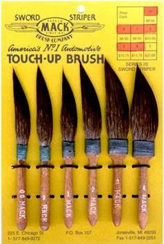 Set of 6 - Sword Striper Pinstriping & Touch-Up Brush