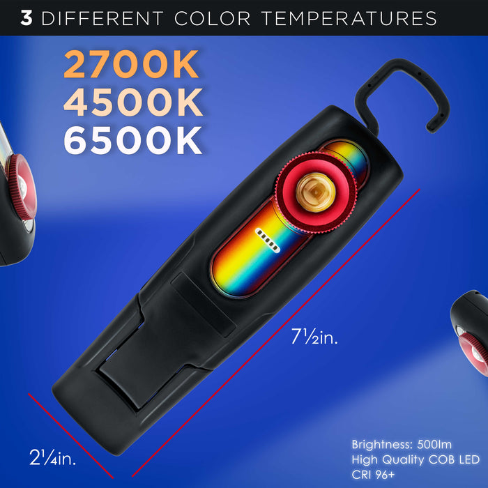 Master Pro - LED Color Matching Light, 500 Lumen, Paint Color Match, Replicates Natural Sunlight, 3 Color Temperatures, Rechargeable Work Light