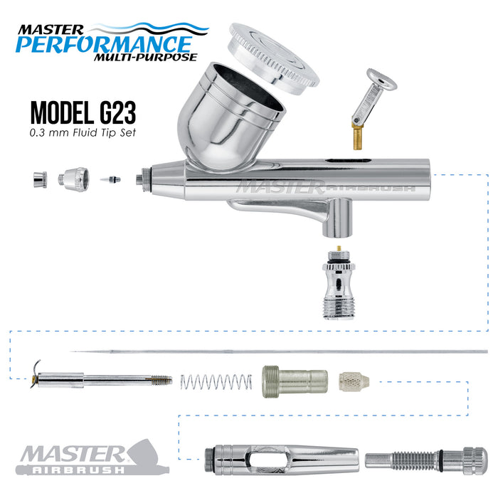 Master Performance G23 Multi-Purpose Dual-Action Gravity Feed Airbrush, 0.3 mm Tip, 1/3 oz Cup, Cutaway Handle