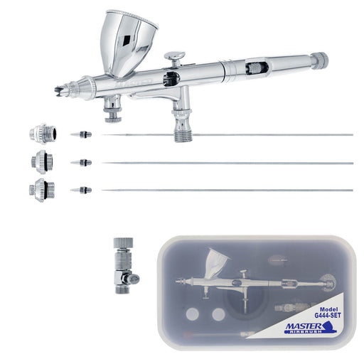High Precision G444 Pro Set Dual-Action Gravity Feed Airbrush Set with 3 tips (0.2, 0.3 & 0.5 mm), 1/3 oz Funnel Cup, Air Control