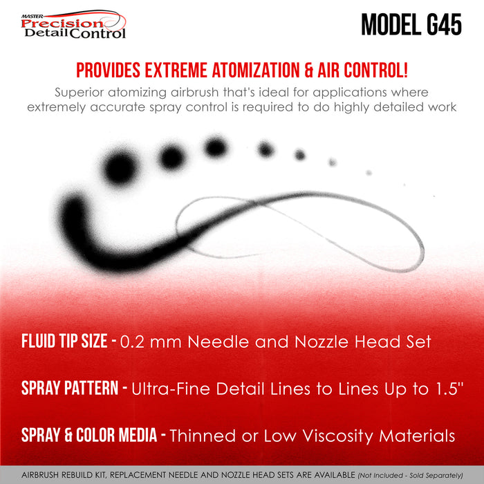 Master High Precision G45 Dual-Action Gravity Feed Airbrush, 02 mm Tip, Large 1/2 oz Cup, Air Control