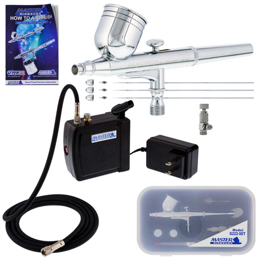 Master Performance G222 Airbrush Kit with Master Black Mini Portable Compressor C16-B & Air Hose