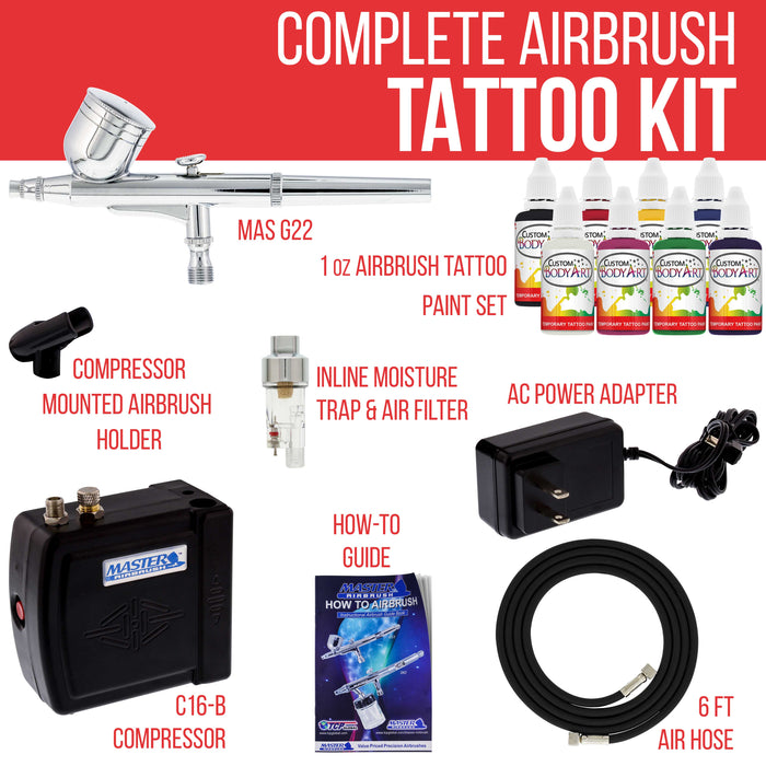 Dual Action Airbrush Air Compressor Spray Paint Ink Kit Body Makeup Tattoo Hobby