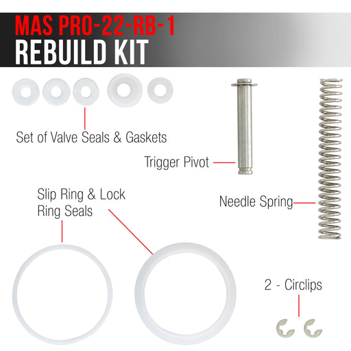 Master Pro 22 Series HVLP Touch-Up Spray Gun Rebuild Kit #1 - For Repair and Maintenance of All Master Pro 22 HVLP Spray Gun Models