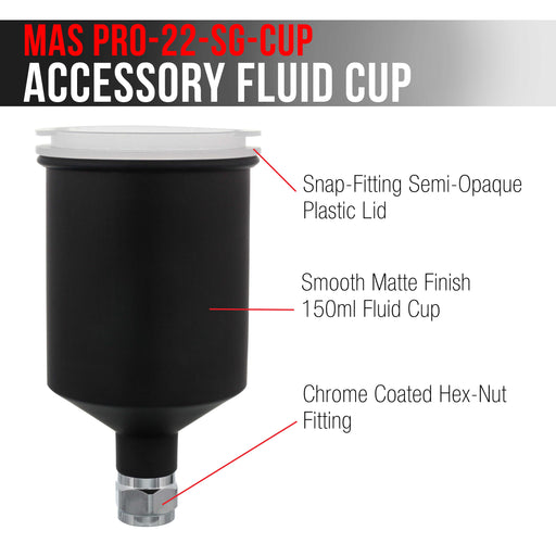 150 ml Aluminum Gravity Feed Touch-Up Spray Paint Gun Cup with Plastic Push-On Lid Matte Black Cup, Fits Master Pro 22 Series HVLP Touch-Up Spray Gun