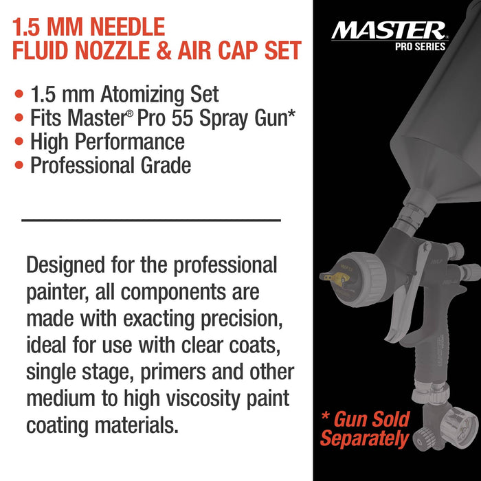 1.5 mm Needle, Fluid Nozzle and Air Cap Set - Fits Master Pro 55 Series High Performance Pressure Feed Spray Gun - Advanced Atomization Technology