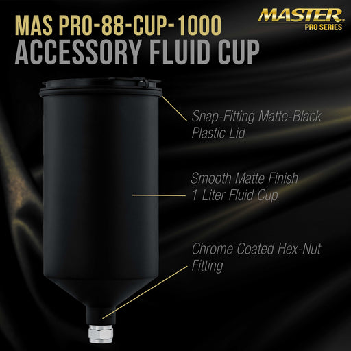 Master Pro 1000 ml Black Aluminum Gravity Feed Spray Paint Gun Cup with a Drip-Free Plastic Push-On Lid - Cup Fits Master Pro 88 Series HVLP Spray Guns and Also Fits Several Popular Brands of Spray Guns