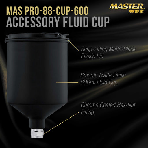 Master Pro 600 ml Black Aluminum Gravity Feed Spray Paint Gun Cup with a Drip-Free Plastic Push-On Lid - Cup Fits Master Pro 88 Series HVLP Spray Guns and Also Fits Several Popular Brands of Spray Guns