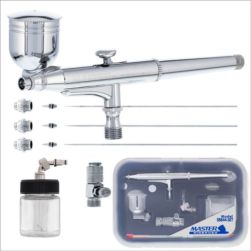 SB844 Pro Set Multi-Purpose Dual-Action Side Feed Airbrush with 3 Nozzle Sets (0.2, 0.3 & 0.5mm), Side & Siphon Cups