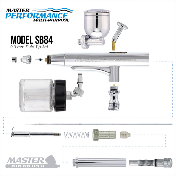 Master Performance SB84 Multi-Purpose Precision Dual-Action Side Bowl Feed Airbrush, 0.3 mm Tip, Gravity & Siphon Cups