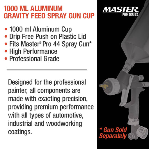 Master Pro 1000 ml Aluminum Gravity Feed Spray Paint Gun Cup with a Drip-Free Plastic Push-On Lid - Cup Fits All Master Pro 44 Series HVLP Spray Guns and Also Fits Several Popular Brands of Spray Guns