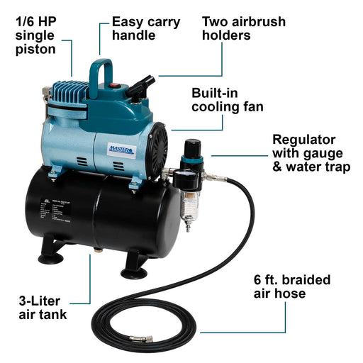 Cool Runner Professional High Performance Single-Piston Airbrush Air Compressor 3-Liter Tank, Holders, Regulator, Gauge, Water Trap Filter & Air Hose