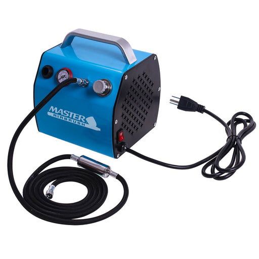 Model TC-77 - Professional Super Quiet High Performance Compact Airbrush Compressor with Small Air Tank, Moisture Trap & Hose