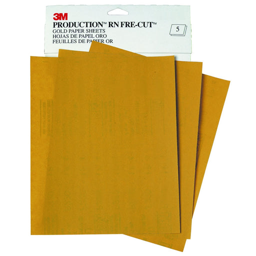 Production RN Fre-Cut Gold Sanding Sheets, 400 grit, 9 in. x 11 in, A Weight, 02539 (50/Pack)