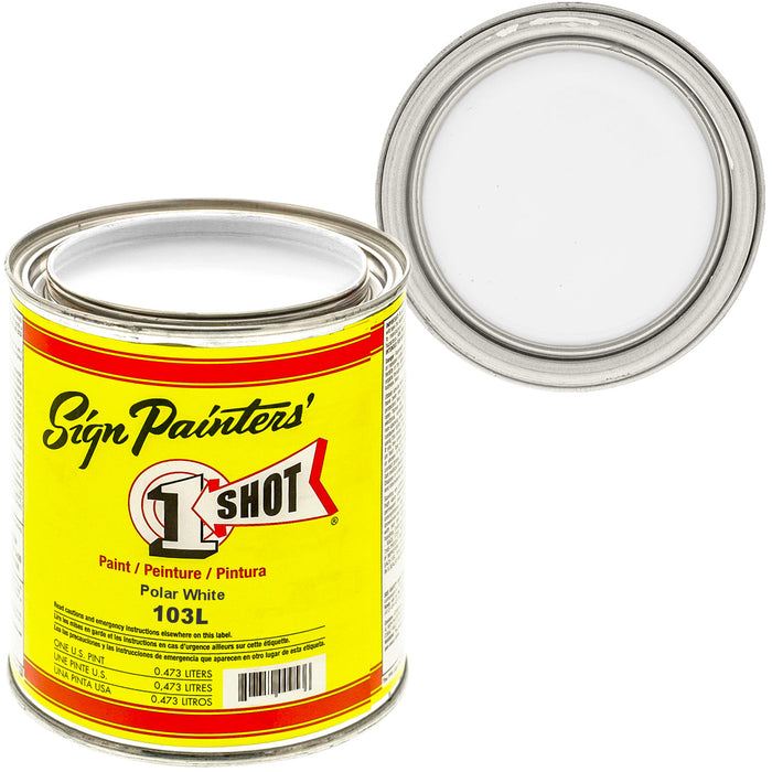 Polar White Pinstriping Lettering Enamel Paint, 1 Pint