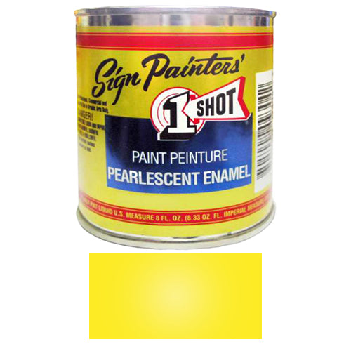 Pearlescent Lemon Yellow Pinstriping Lettering Enamel Paint, 1/2 Pint