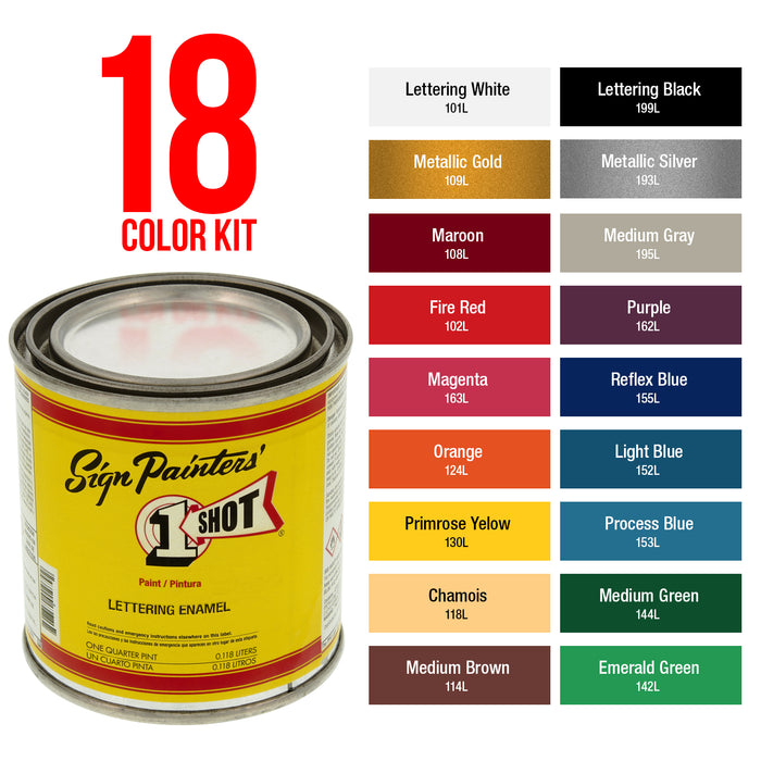 Basic 18 Color Enamel Kit, 1/4 Pint plus Custom Shop 6-Piece Master Pinstriping Brushes