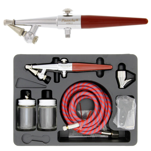 H Series Single-Action Siphon Feed Airbrush Set with Multiple tips & Bottles