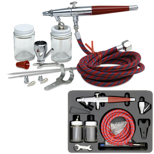 Paasche VL Series Dual-Action Siphon Feed Airbrush Set with 3 Tip Sizes, Braided Air Hose and Fluid Bottles