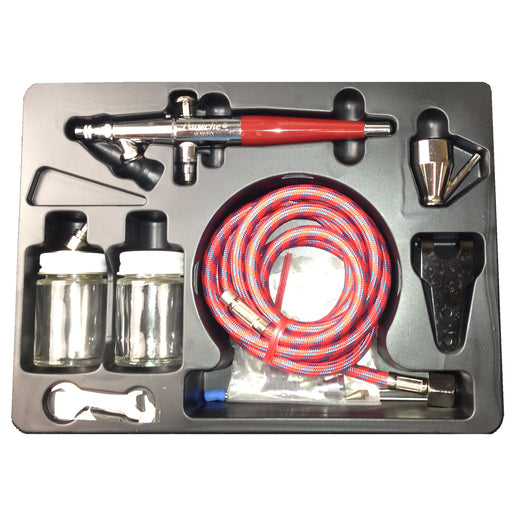 VLS Series Dual-Action Siphon Feed Airbrush Set with Multiple tips & Bottles