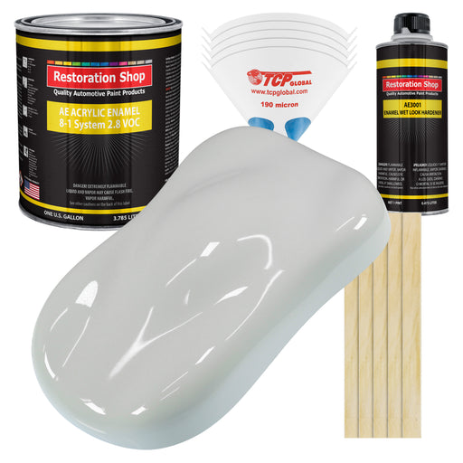 Classic White Acrylic Enamel Auto Paint - Complete Gallon Paint Kit - Professional Single Stage High Gloss Automotive, Car Truck, Equipment Coating, 8:1 Mix Ratio 2.8 VOC