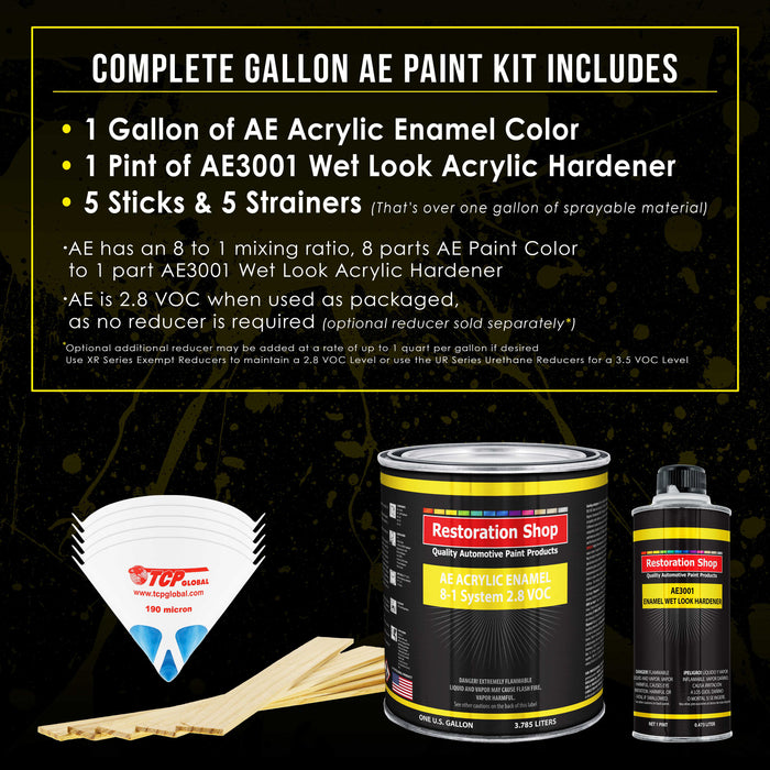 Winter White Acrylic Enamel Auto Paint - Complete Gallon Paint Kit - Professional Single Stage High Gloss Automotive, Car Truck, Equipment Coating, 8:1 Mix Ratio 2.8 VOC