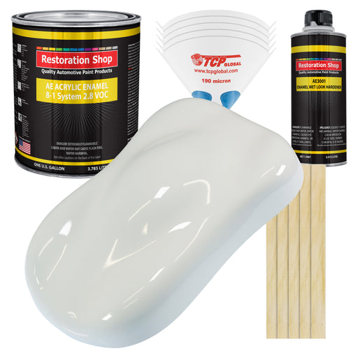 Pure White Acrylic Enamel Auto Paint - Complete Gallon Paint Kit - Professional Single Stage High Gloss Automotive, Car Truck, Equipment Coating, 8:1 Mix Ratio 2.8 VOC