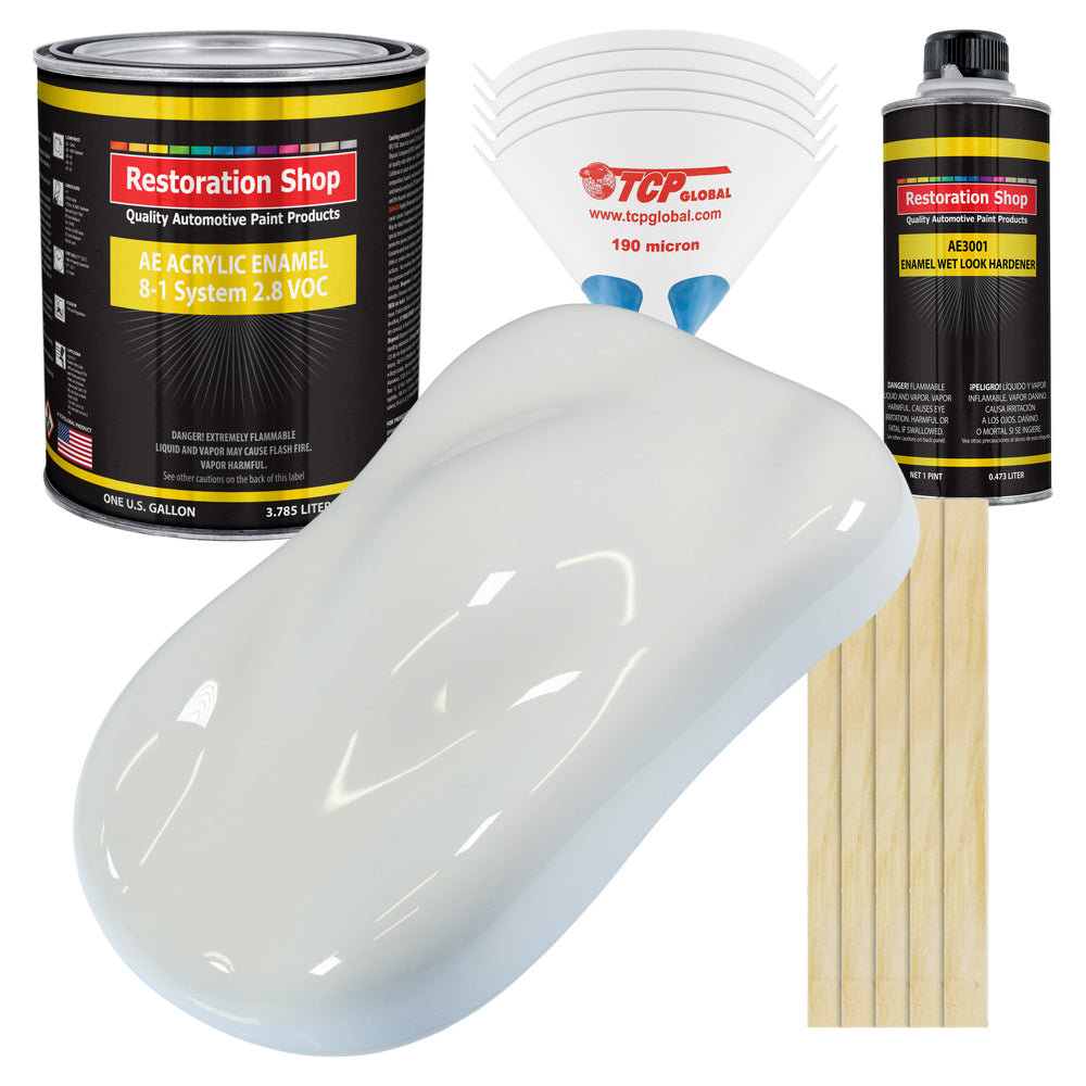 Cameo White Acrylic Enamel Auto Paint - Complete Gallon Paint Kit - Professional Single Stage High Gloss Automotive, Car Truck, Equipment Coating, 8:1 Mix Ratio 2.8 VOC