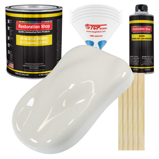 Wispy White Acrylic Enamel Auto Paint - Complete Gallon Paint Kit - Professional Single Stage High Gloss Automotive, Car Truck, Equipment Coating, 8:1 Mix Ratio 2.8 VOC