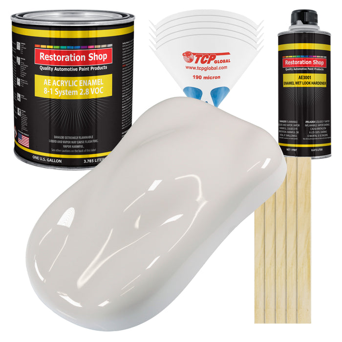 Oxford White Acrylic Enamel Auto Paint - Complete Gallon Paint Kit - Professional Single Stage High Gloss Automotive, Car Truck, Equipment Coating, 8:1 Mix Ratio 2.8 VOC