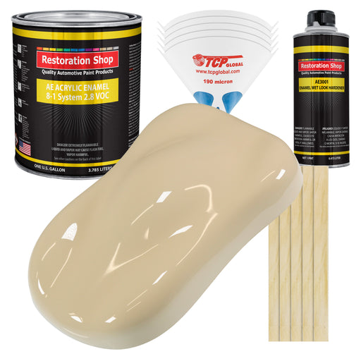 Ivory Acrylic Enamel Auto Paint - Complete Gallon Paint Kit - Professional Single Stage High Gloss Automotive, Car Truck, Equipment Coating, 8:1 Mix Ratio 2.8 VOC