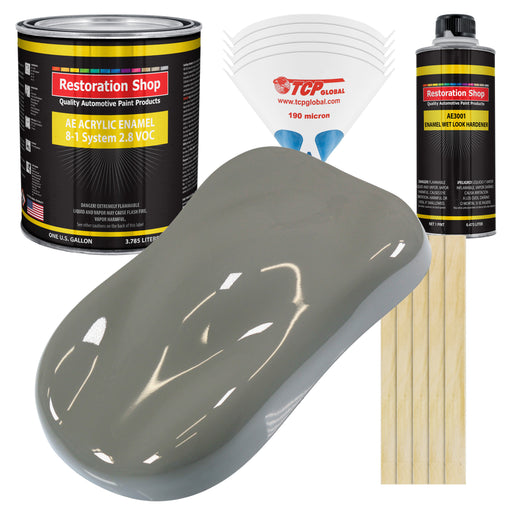Dove Gray Acrylic Enamel Auto Paint - Complete Gallon Paint Kit - Professional Single Stage High Gloss Automotive, Car Truck, Equipment Coating, 8:1 Mix Ratio 2.8 VOC
