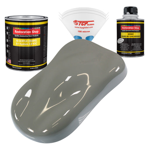 Dove Gray Acrylic Enamel Auto Paint - Complete Quart Paint Kit - Professional Single Stage High Gloss Automotive, Car, Truck, Equipment Coating, 8:1 Mix Ratio 2.8 VOC