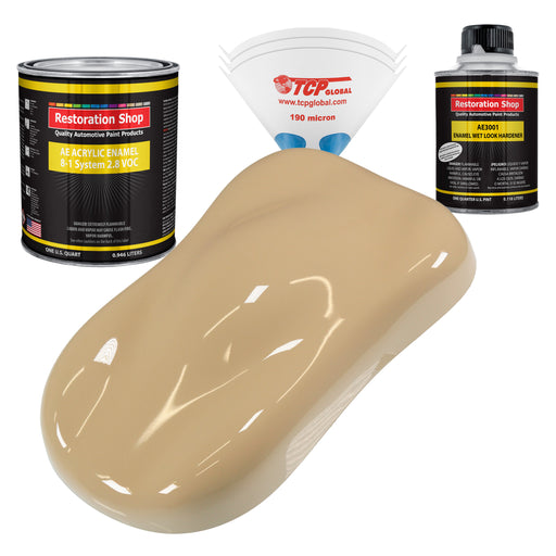Shoreline Beige Acrylic Enamel Auto Paint - Complete Quart Paint Kit - Professional Single Stage High Gloss Automotive, Car, Truck, Equipment Coating, 8:1 Mix Ratio 2.8 VOC