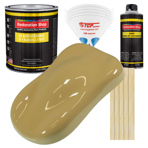 Buckskin Tan Acrylic Enamel Auto Paint - Complete Gallon Paint Kit - Professional Single Stage High Gloss Automotive, Car Truck, Equipment Coating, 8:1 Mix Ratio 2.8 VOC