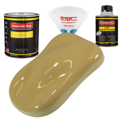 Buckskin Tan Acrylic Enamel Auto Paint - Complete Quart Paint Kit - Professional Single Stage High Gloss Automotive, Car, Truck, Equipment Coating, 8:1 Mix Ratio 2.8 VOC