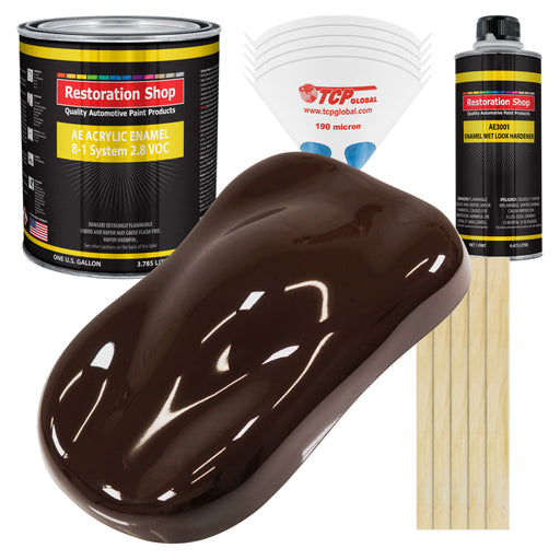 Dark Brown Acrylic Enamel Auto Paint - Complete Gallon Paint Kit - Professional Single Stage High Gloss Automotive, Car Truck, Equipment Coating, 8:1 Mix Ratio 2.8 VOC