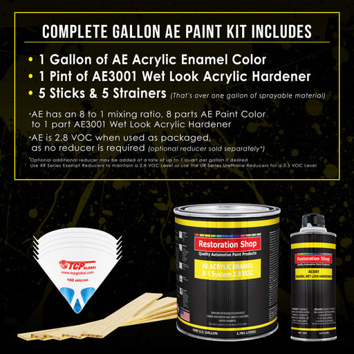 Daytona Yellow Acrylic Enamel Auto Paint - Complete Gallon Paint Kit - Professional Single Stage High Gloss Automotive, Car Truck, Equipment Coating, 8:1 Mix Ratio 2.8 VOC