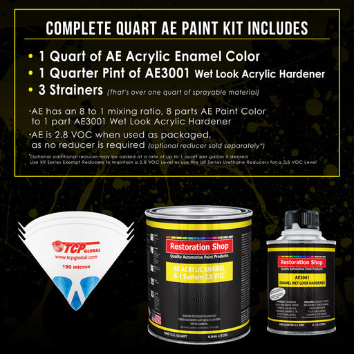 Daytona Yellow Acrylic Enamel Auto Paint - Complete Quart Paint Kit - Professional Single Stage High Gloss Automotive, Car, Truck, Equipment Coating, 8:1 Mix Ratio 2.8 VOC